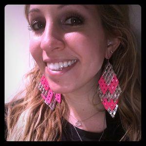 Jewelry - Neon Pink Statement Chandelier Earrings